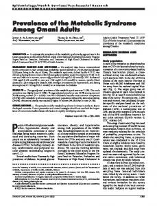 Prevalence of the Metabolic Syndrome Among Omani ... - Diabetes Care