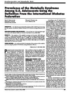 Prevalence of the Metabolic Syndrome Among US ... - Diabetes Care