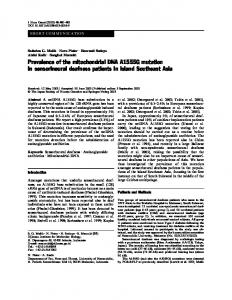 Prevalence of the mitochondrial DNA A1555G mutation in ... - Nature