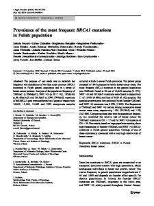 Prevalence of the most frequent BRCA1 mutations in ... - Springer Link