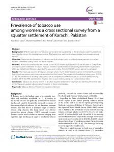 Prevalence of tobacco use among women: a cross ... - CiteSeerX