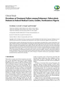 Prevalence of Treatment Failure among Pulmonary Tuberculosis ...