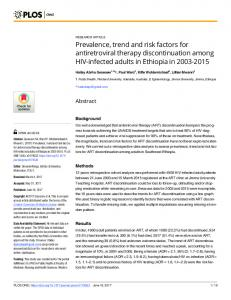 Prevalence, trend and risk factors for antiretroviral therapy ... - PLOS