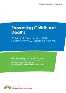 Preventing Childhood Deaths - UK Government Web Archive