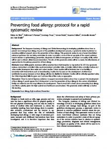 Preventing food allergy: protocol for a rapid ... - BioMedSearch