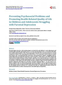 Preventing Psychosocial Problems and Promoting Health-Related ...