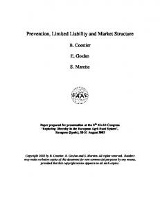 Prevention, Limited Liability and Market Structure - AgEcon Search