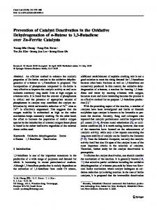 Prevention of Catalyst Deactivation in the Oxidative Dehydrogenation ...