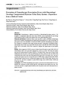 Prevention of Chemotherapy Prescription Errors with Hematology ...