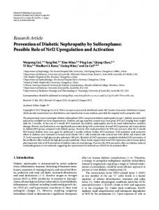 Prevention of Diabetic Nephropathy by Sulforaphane: Possible Role of