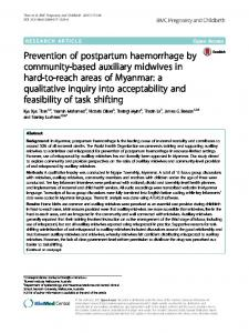 Prevention of postpartum haemorrhage by community-based auxiliary ...