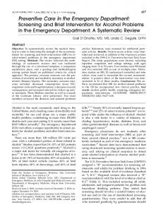 Preventive Care in the Emergency Department ... - Wiley Online Library