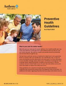 Preventive Health Guidelines - ncsmig