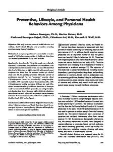 Preventive, Lifestyle, and Personal Health Behaviors Among ...