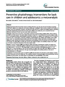 Preventive physiotherapy interventions for back care ... - BioMedSearch