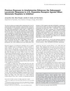 Previous Exposure to Amphetamine Enhances the Subsequent ...