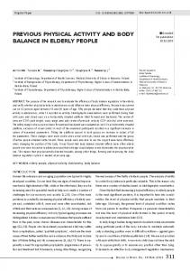 previous physical activity and body balance in