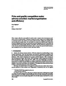 Price and quality competition under adverse selection - bu people