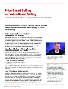 Price-Based Selling vs. Value-Based Selling - Consumer Optimization