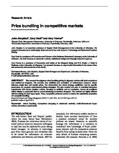 Price bundling in competitive markets