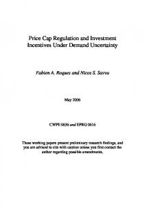 Price Cap Regulation and Investment Incentives Under ... - CiteSeerX
