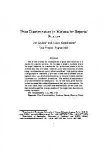 Price Discrimination in Markets for Experts' Services - Semantic Scholar