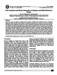 Price Dynamics and Market integration of Sorghum and Millet ... - ISCA