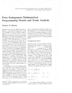 Price Endogenous Mathematical Programming ... - AgEcon Search
