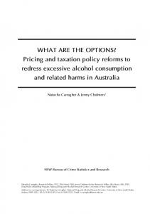 Pricing and taxation policy reforms to redress excessive alcohol