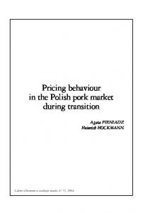 Pricing behaviour in the Polish pork market during transition - CiteSeerX