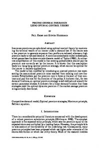 Pricing General Insurance Using Optimal Control Theory