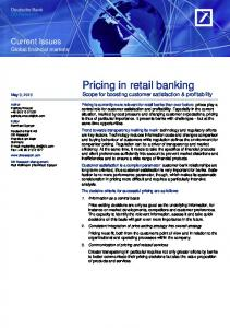 Pricing in retail banking: Scope for boosting customer ...