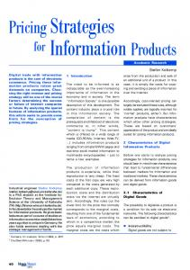 Pricing Strategies Information Products