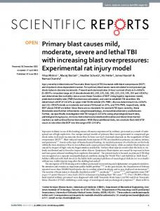 Primary blast causes mild, moderate, severe and ... - Semantic Scholar