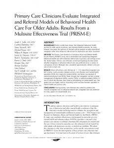 Primary Care Clinicians Evaluate Integrated and ... - Semantic Scholar