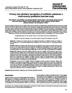 Primary care clinicians' perceptions of antibiotic ... - Oxford Academic