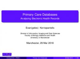 Primary Care Databases - Analysing Electronic Health Records