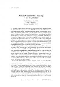 Primary Care in Public Housing - Association of Clinicians for the ...