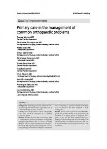 Primary care in the management of common orthopaedic problems