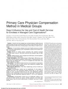 Primary Care Physician Compensation Method in ...