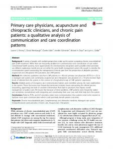 Primary care physicians, acupuncture and chiropractic clinicians, and ...