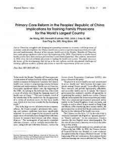 Primary Care Reform in the Peoples' Republic of China ... - STFM