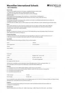 Primary catalogue order form - Macmillan International Schools