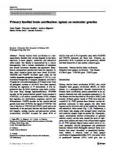 Primary familial brain calcification: update on molecular ... - USiena air