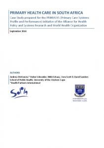 primary health care in south africa