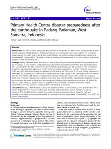 Primary Health Centre disaster preparedness after ... - BioMedSearch
