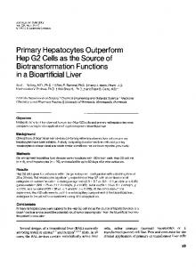 Primary Hepatocytes Outperform Hep G2 Cells as the Source ... - NCBI