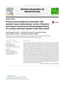 Primary immunodeficiency association with systemic lupus ... - Core