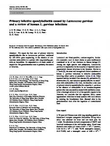 Primary infective spondylodiscitis caused by ... - Springer Link
