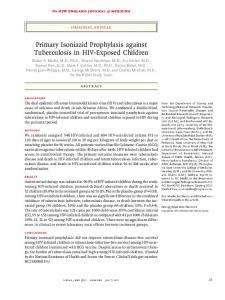 Primary Isoniazid Prophylaxis against Tuberculosis in HIV-Exposed